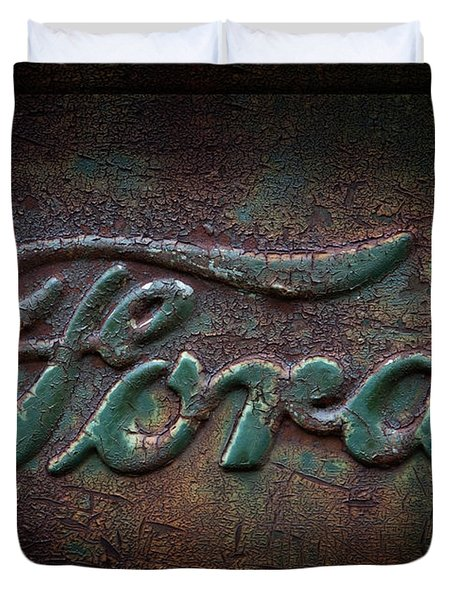 Detail Old Rusty Ford Pickup Truck Emblem Duvet Cover