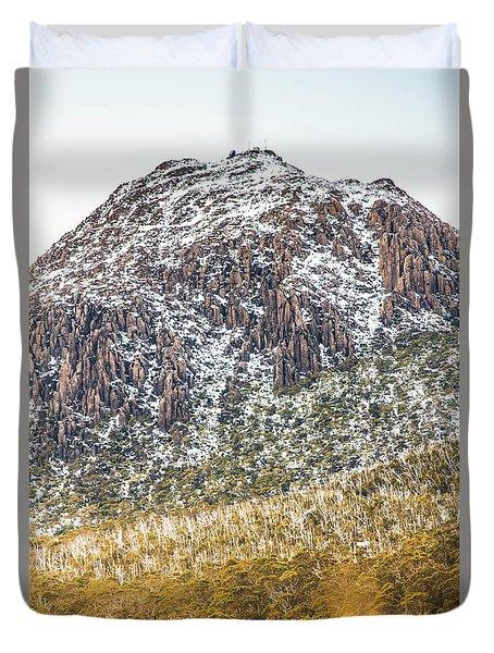 Detail On A Australian Snow Covered Mountain Duvet Cover