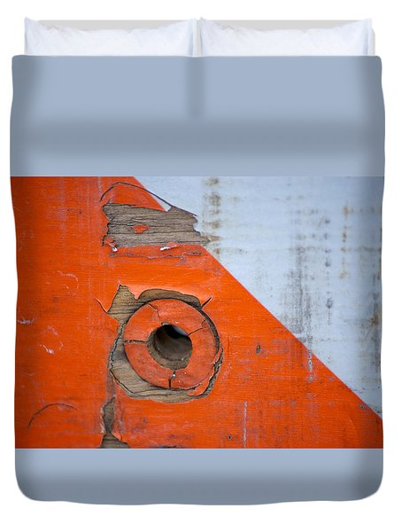 Details Of A Road Block Duvet Cover by Sandra Church