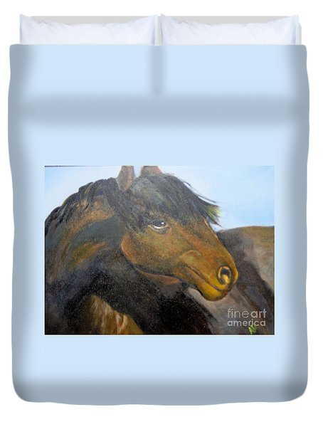 Duvet Cover featuring the painting Determination by Saundra Johnson