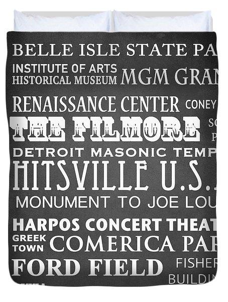 Detroit Famous Landmarks Duvet Cover
