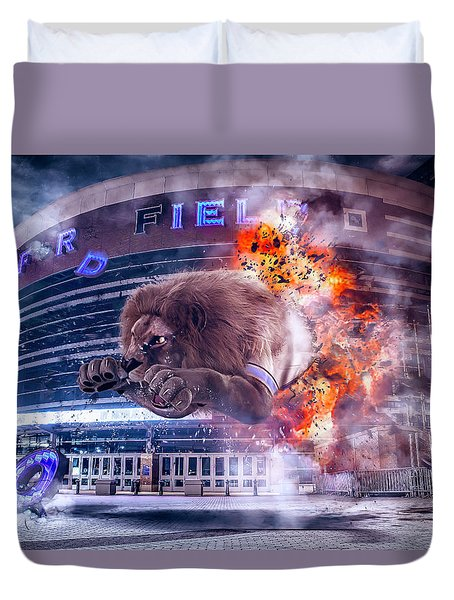 Duvet Cover featuring the photograph Detroit Lions At Ford Field 2 by Nicholas Grunas