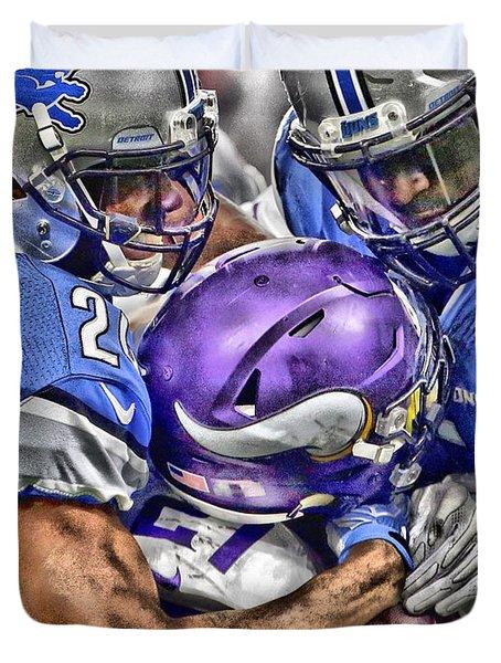 Detroit Lions Team Art Duvet Cover