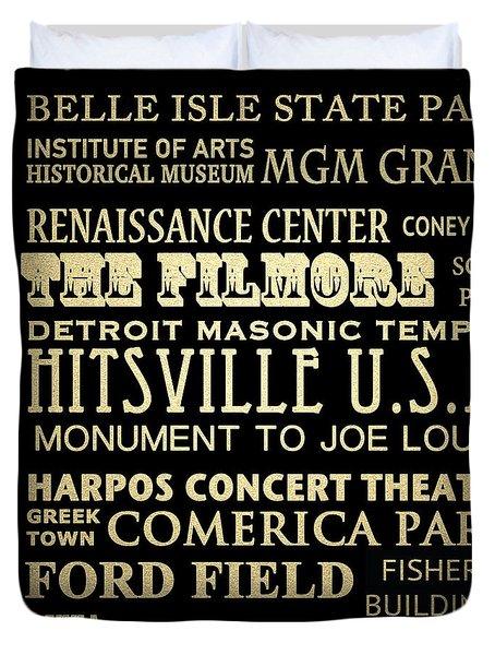 Detroit Michigan Famous Landmarks Duvet Cover