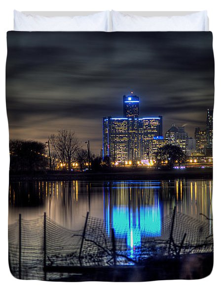 Detroit Reflections Duvet Cover by Nicholas  Grunas