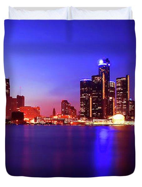 Detroit Skyline 3 Duvet Cover by Gordon Dean II