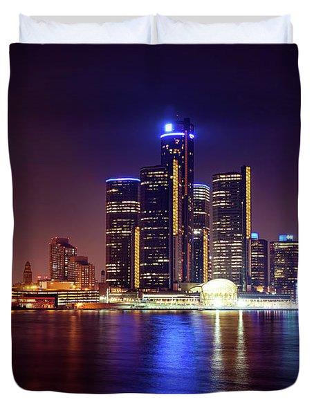 Detroit Skyline 4 Duvet Cover by Gordon Dean II