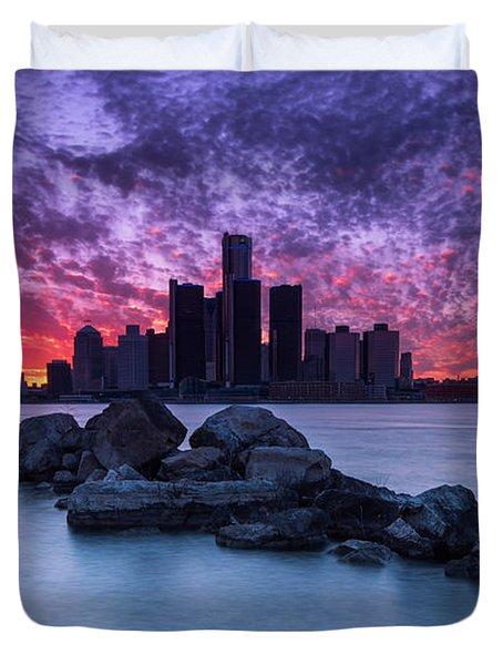Detroit Skyline Clouds Duvet Cover