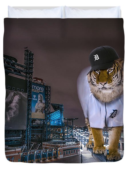 Duvet Cover featuring the photograph Detroit Tigers At  Comerica Park by Nicholas  Grunas
