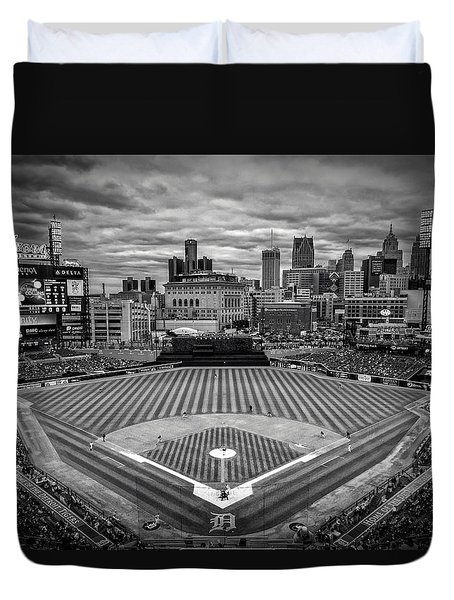 Detroit Tigers Comerica Park Bw 4837 Duvet Cover by David Haskett