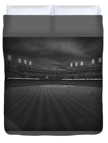Detroit Tigers Comerica Park Bw 4930 Duvet Cover by David Haskett