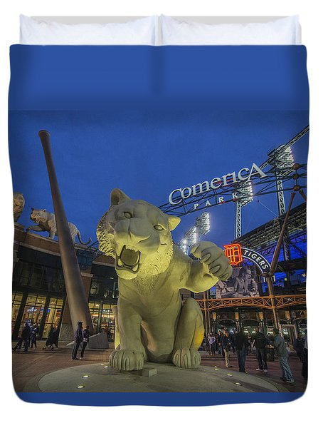 Detroit Tigers Comerica Park Front Gate Tiger Duvet Cover by David Haskett