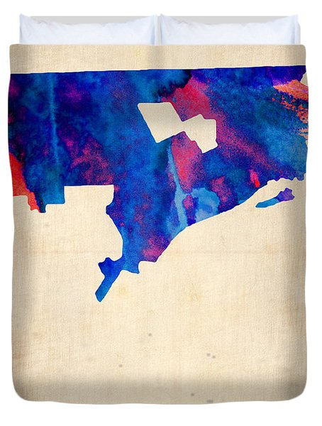 Detroit Watercolor Map Duvet Cover