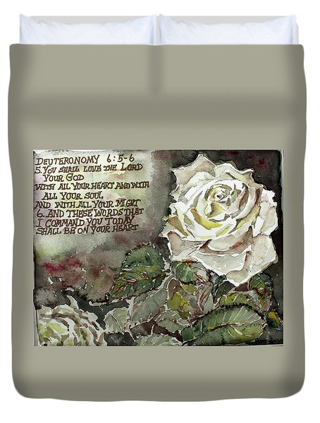Duvet Cover featuring the painting Deuteronomy 6 by Mindy Newman