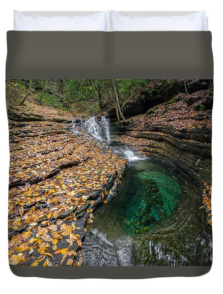 Duvet Cover featuring the photograph Devils Bathtub Cascade by Serge Skiba