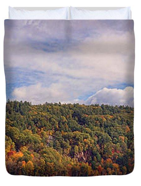 Devil's Lake Autumn Text. Duvet Cover