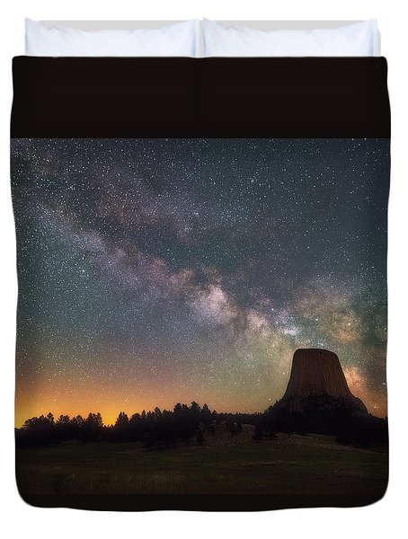 Duvet Cover featuring the photograph Devils Night Watch by Darren White