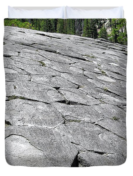 Devils Postpile - Nature And Science Duvet Cover by Christine Till