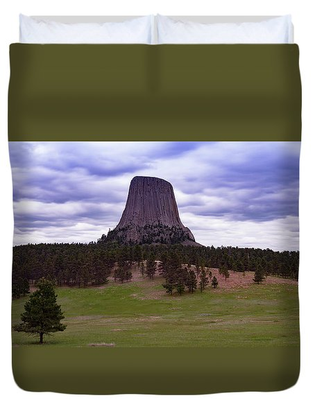 Duvet Cover featuring the photograph Devil's Tower 2 by Gary Lengyel