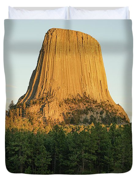 Duvet Cover featuring the photograph Devils Tower At Sunset by Bill Gabbert