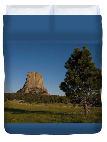 Duvet Cover featuring the photograph Devil's Tower by Gary Lengyel