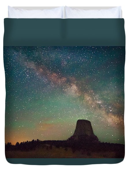 Devils Tower Lights Duvet Cover