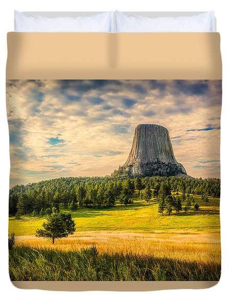 Duvet Cover featuring the photograph Devil's Tower - The Other Side by Rikk Flohr