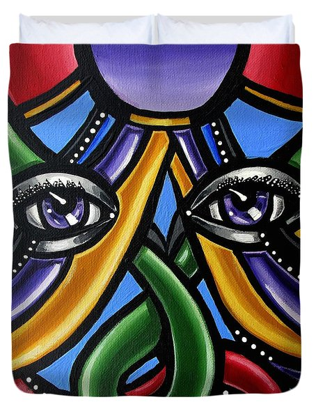 Colorful Eye Art Paintings Abstract Eye Painting Chromatic Artwork Duvet Cover