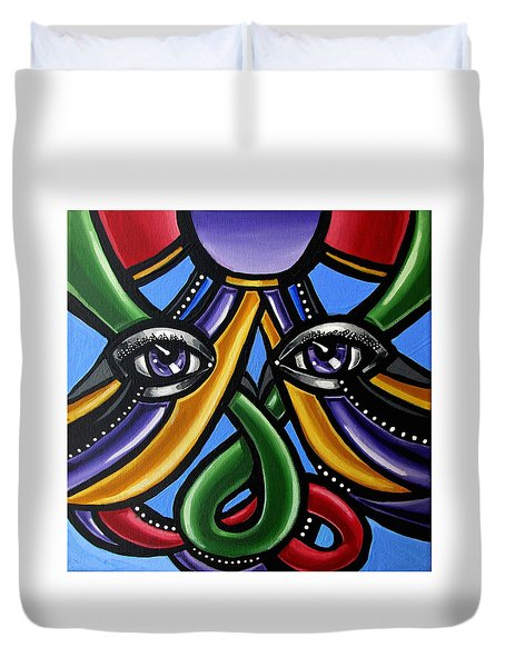 Colorful Contemporary Canvas Painting, Eyeball Artwork, Colorful Modern Art                       Duvet Cover