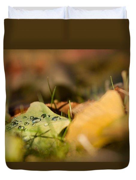 Dew And Gingko  Duvet Cover by Bulik Elena
