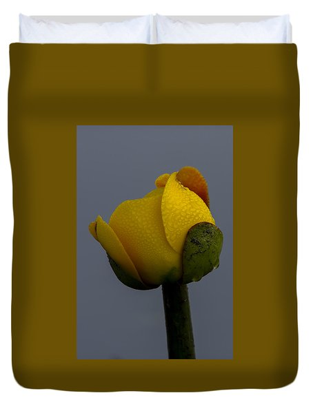 Dew Covered Yellow Water Lily Duvet Cover