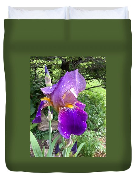 Dew Drops On The First Iris 2015 Duvet Cover by Patricia E Sundik