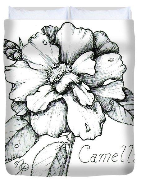 Dew Kissed Camellia Duvet Cover