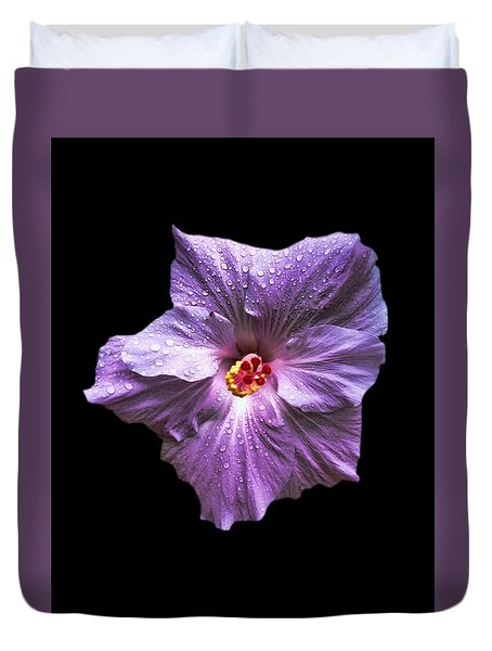Dew Kissed Hibiscus Duvet Cover by Pamela Walton