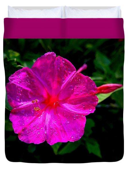 Dew On Four O'clock Blossom Duvet Cover
