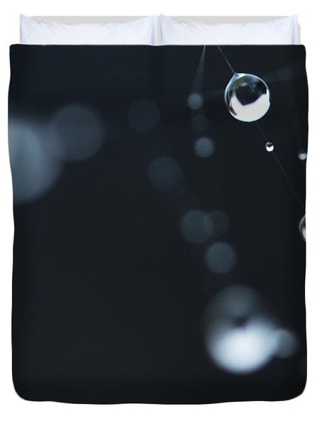 Dewdrops On Cobweb 004 Duvet Cover