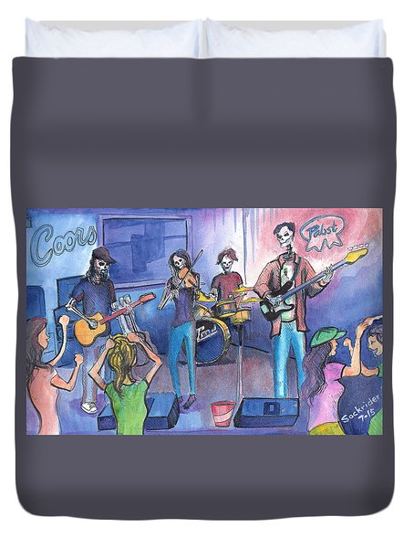 Duvet Cover featuring the painting Dewey Paul Band by David Sockrider