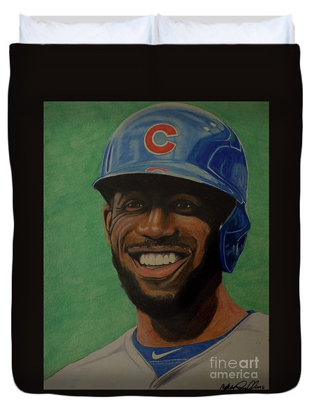 Duvet Cover featuring the drawing Dexter Fowler Portrait by Melissa Goodrich