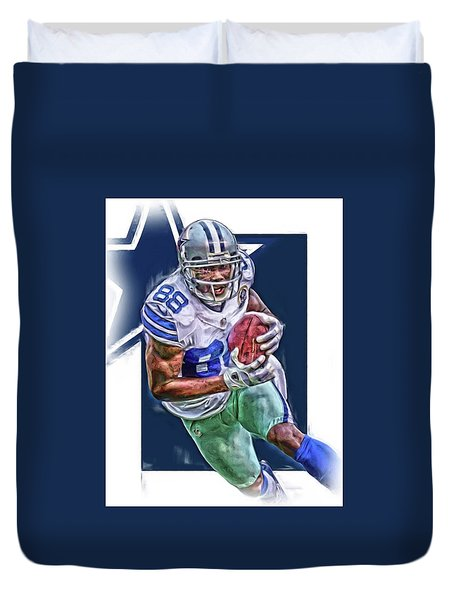 Dez Bryant Dallas Cowboys Oil Art Duvet Cover by Joe Hamilton