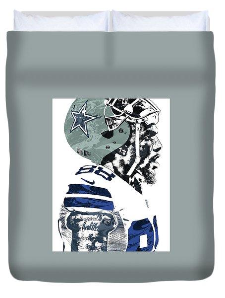 Duvet Cover featuring the mixed media Dez Bryant Dallas Cowboys Pixel Art 4 by Joe Hamilton