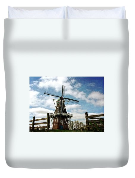 Duvet Cover featuring the photograph Dezwaan Windmill With Fence And Clouds by Michelle Calkins