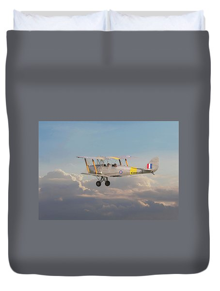 Duvet Cover featuring the digital art Dh Tiger Moth - 'first Steps' by Pat Speirs
