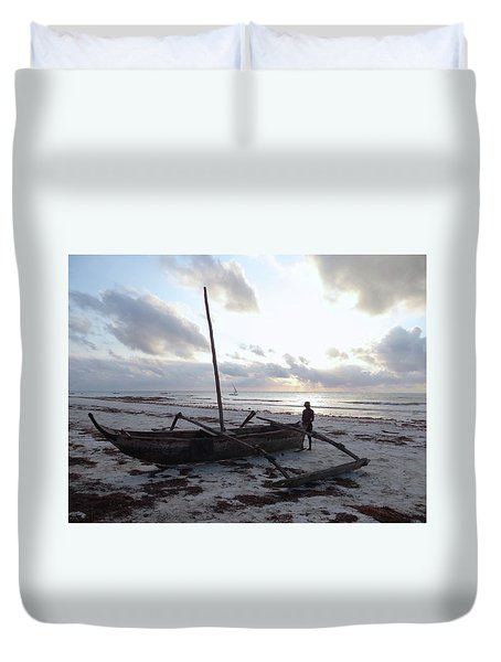 Dhow Wooden Boats At Sunrise With Fisherman Duvet Cover