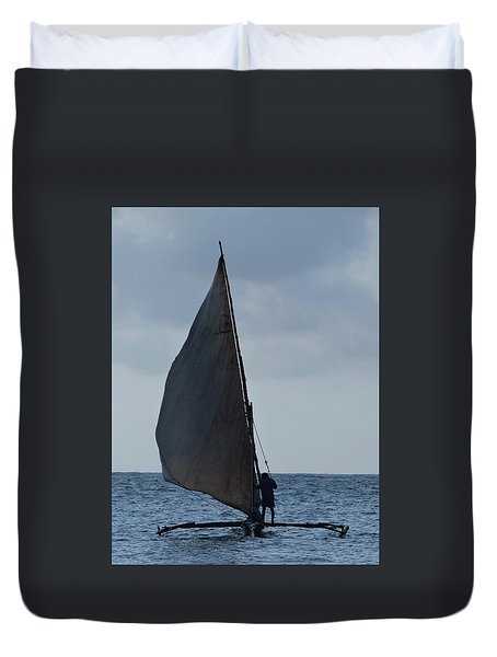 Dhow Wooden Boats In Sail Duvet Cover by Exploramum Exploramum