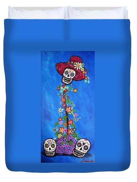 Duvet Cover featuring the painting Dia De Los Muertos by Pristine Cartera Turkus