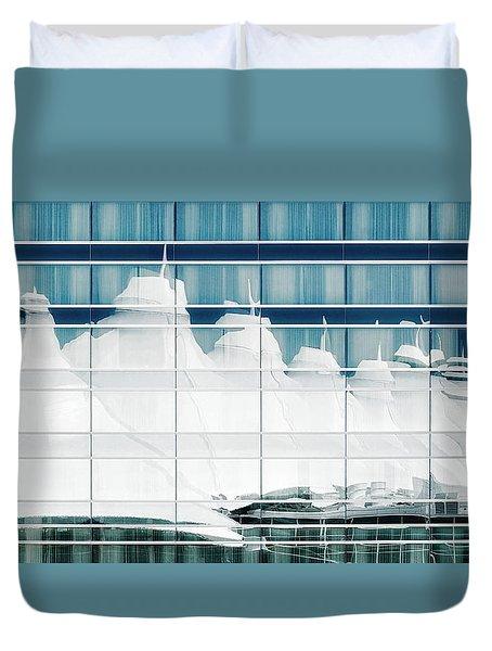 Duvet Cover featuring the photograph Dia Hotel Reflection by Joe Bonita