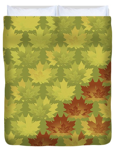 Duvet Cover featuring the digital art Diagonal Leaf Pattern by Methune Hively