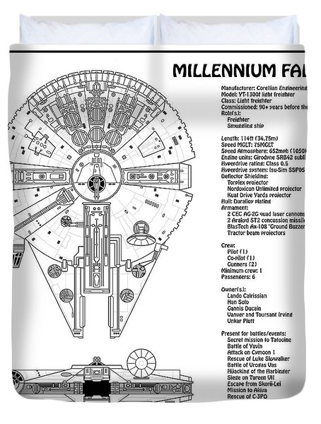 diagram illustration for the millennium falcon from star wars with  technical data information duvet cover
