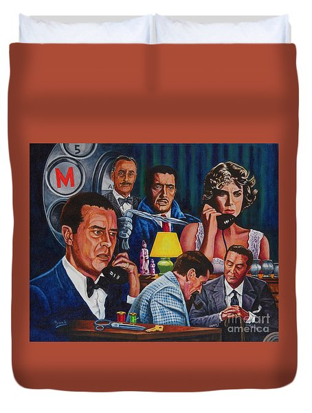 Duvet Cover featuring the painting Dial M For Murder by Michael Frank