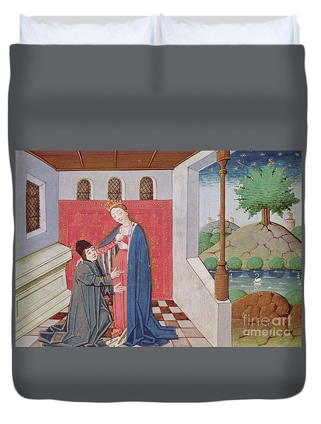 Dialogue Between Boethius And Philosophy Duvet Cover
